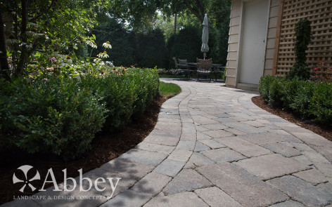 Evanston Design Project – Unilock Brussels Block Patio and back yard planting